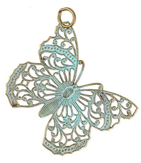 46x38mm Filigree Butterfly - Natural Brass (4 pcs)