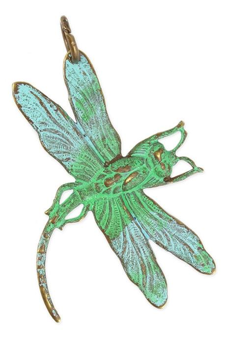 47x35mm Art Deco Dragonfly - Natural Brass (5 pcs)