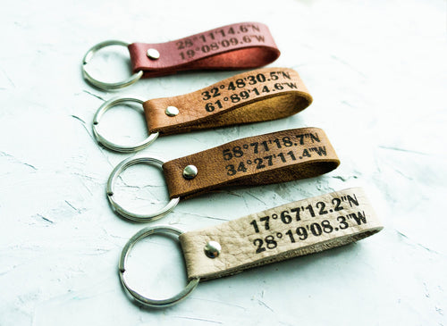 Your Custom Coordinates Engraved Keychain - StayRealCrafts