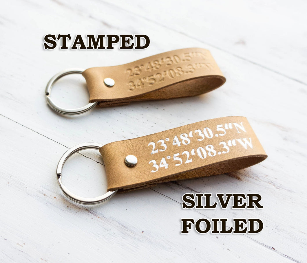 Custom Coordinates Leather Keychain (Latitude and Longitude Stamped Keyring) - StayRealCrafts