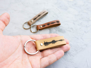 Soundwave Leather Keychain, Personalized Sound Wave Keyring Custom Voice Wave Keyfob Custom Engraved Key Fob Waveform Voice Recording Gift - StayRealCrafts