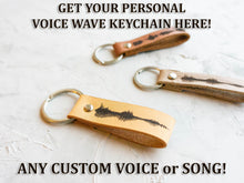 Load image into Gallery viewer, Soundwave Leather Keychain, Personalized Sound Wave Keyring Custom Voice Wave Keyfob Custom Engraved Key Fob Waveform Voice Recording Gift - StayRealCrafts