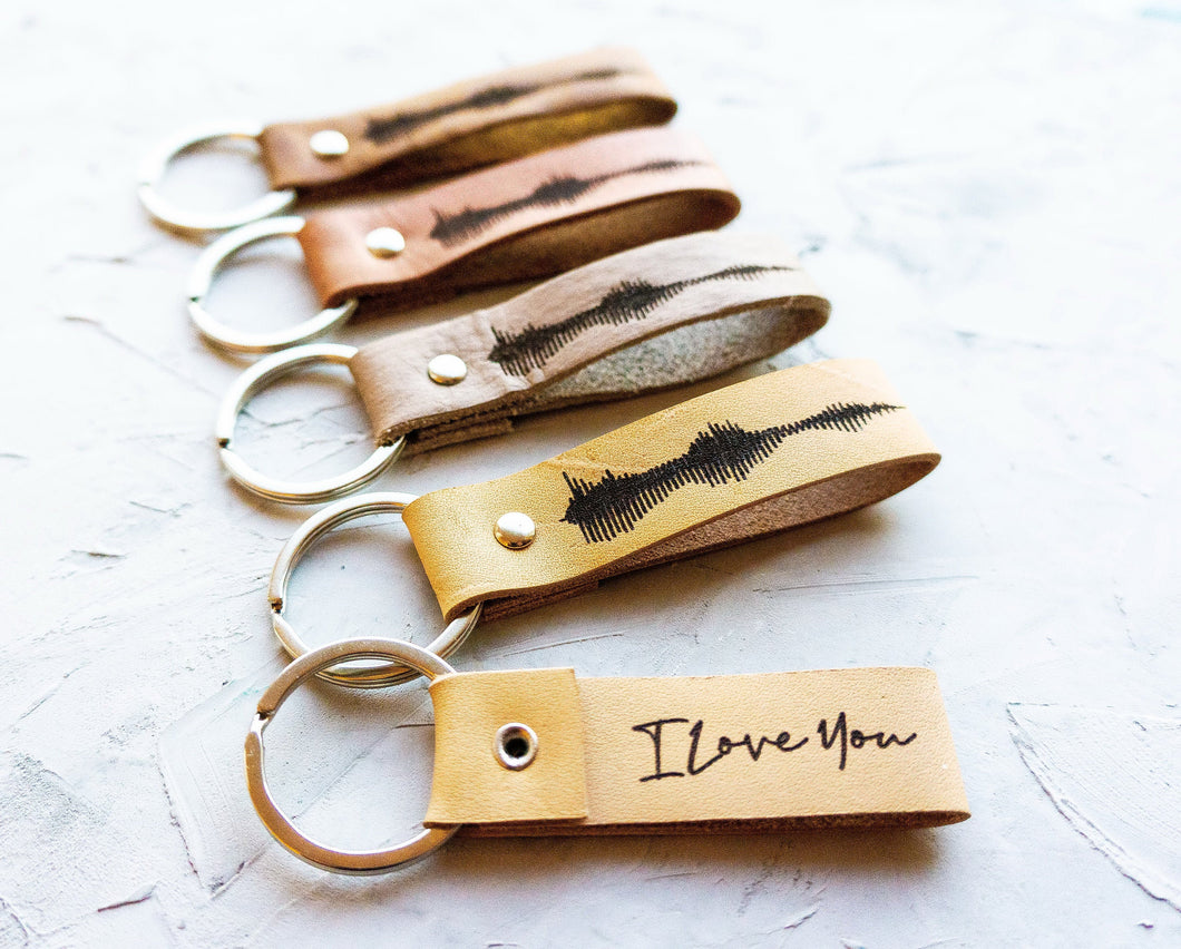 I Love You Keychain, Personalized Soundwave Keychain, Anniversary Gift, Custom Voice Wave Keyring Custom Engraved Voice Recording Gift - StayRealCrafts