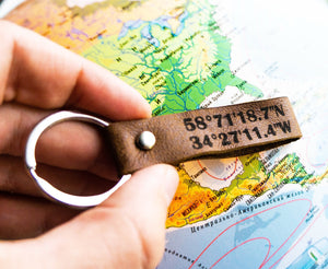 Custom Place Coordinates Keychain - StayRealCrafts