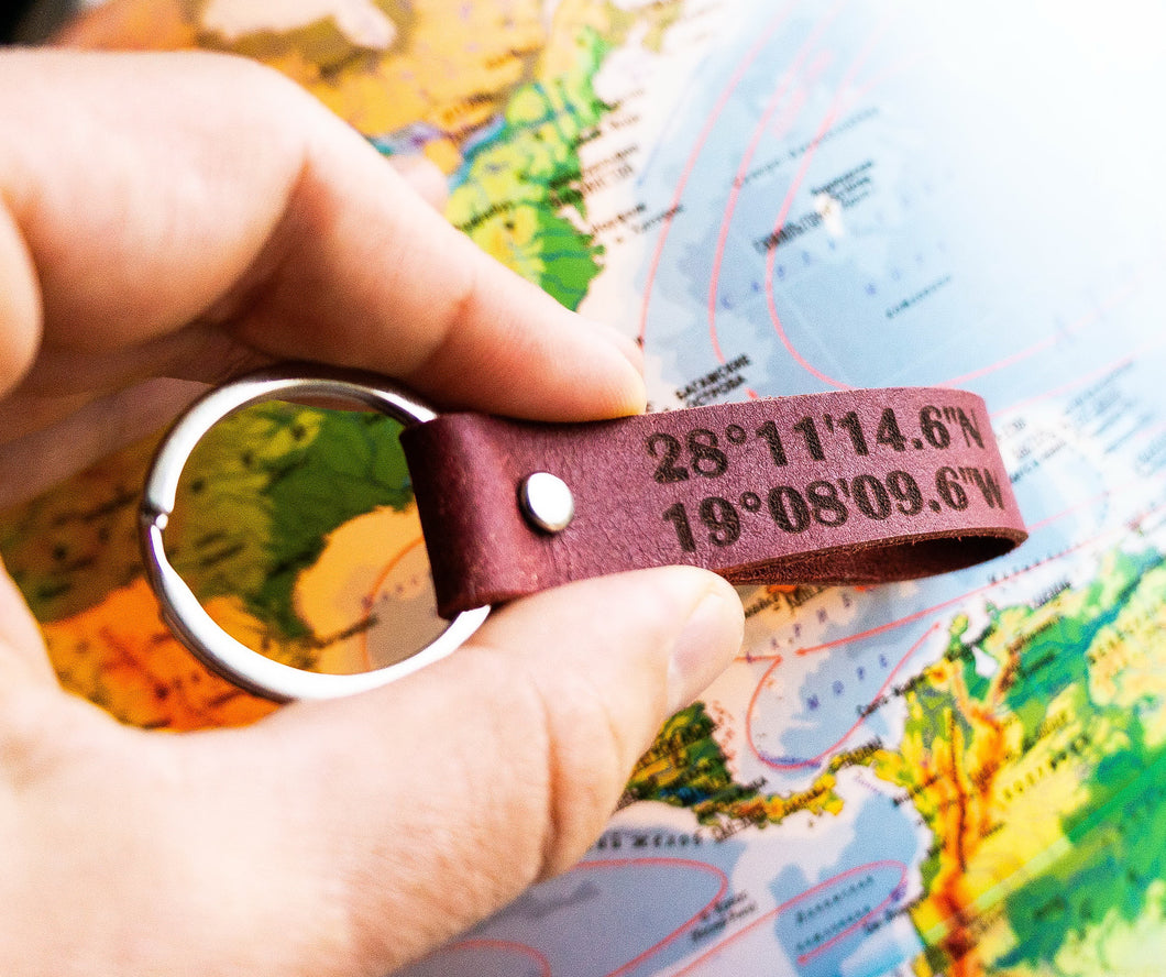 Custom Engraved Coordinates Leather Keychain - StayRealCrafts