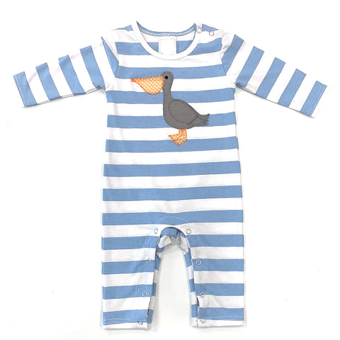 Long Sleeve Stripe Romper with Pelican Applique