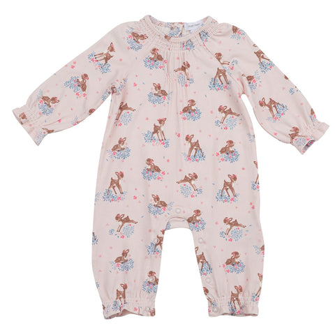 Bamboo Long Sleeve Smocked Romper - Little Deer