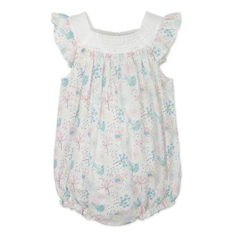 Feather Baby Square Neck Bubble - Regal Bird Print