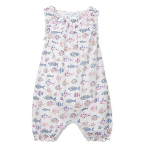 Feather Baby Sleeveless Romper - Blue Fish Print
