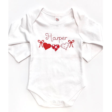 Long Sleeve 3 Hearts Personalized Bodysuit