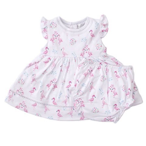 Pima Cotton Dress Flower Flamingos
