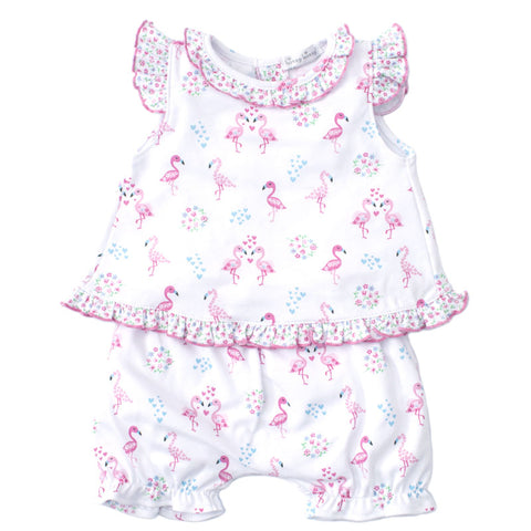 Pima Cotton 2 Piece Sunsuit Flower Flamingos