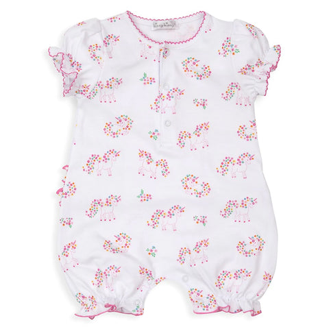Pima Cotton Short Sleeve Romper Unicorn Garden