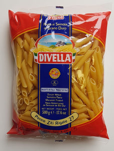 Penne Ziti Rigate  No. 27 - Divella Drum Wheat Pasta - Case of 24 packets of 500g each