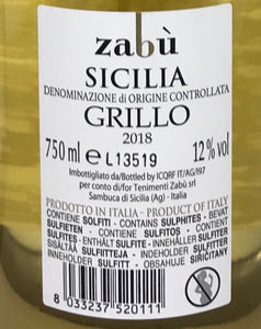 Grillo Sicilia DOC Zabù - Case of 6 bottles