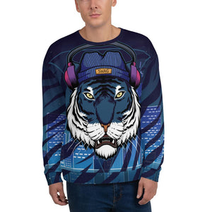 Sweatshirt White Tiger Wearing Headphones