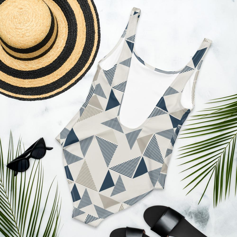 One-Piece Swimsuit Blue/Neutral Triangles