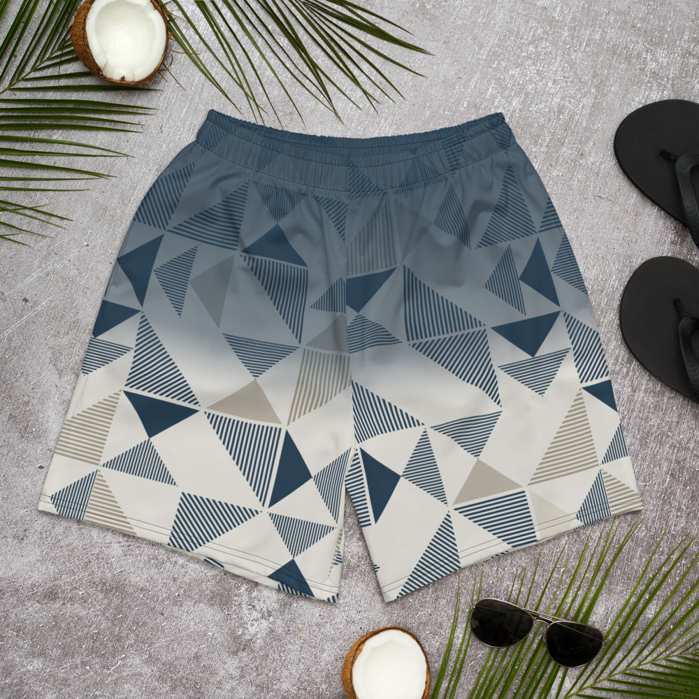 Men's Athletic Long Shorts Blue/Neutral Triangles
