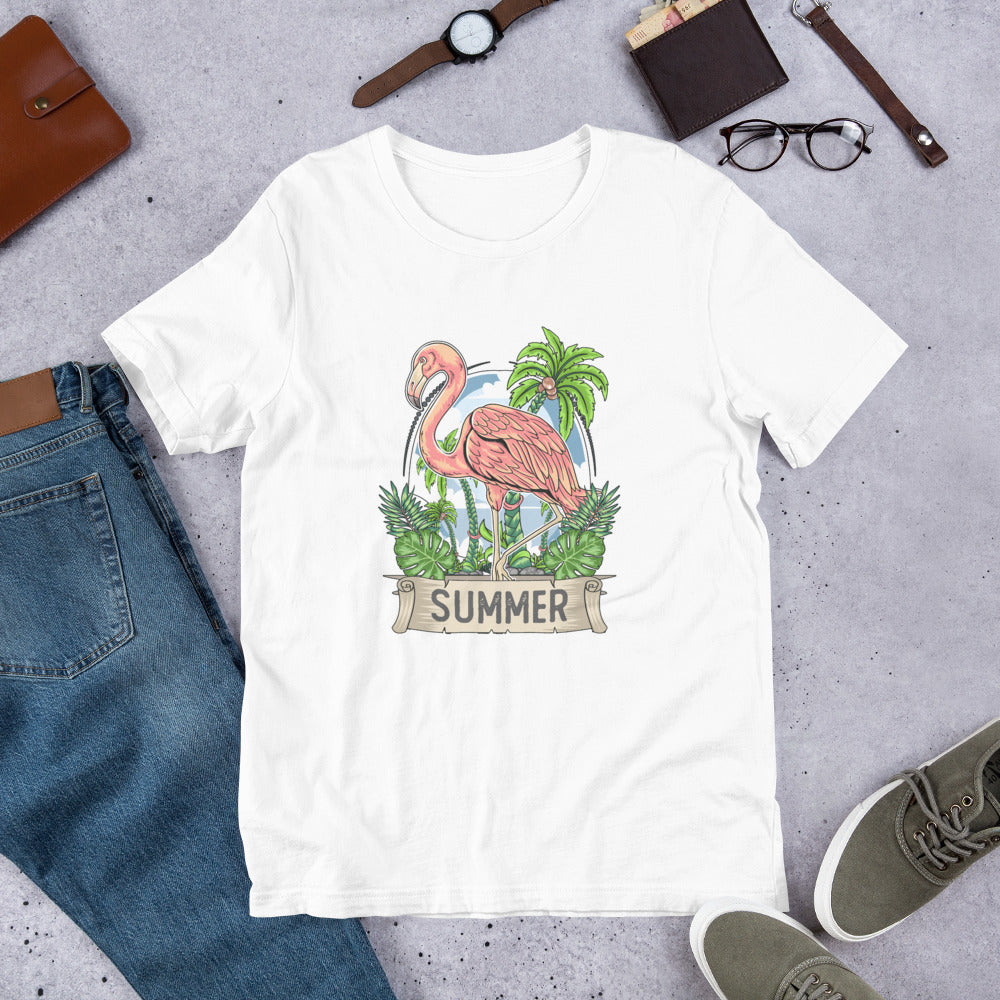 "Short Sleeve T-Shirt ""Summer"" Flamingo"