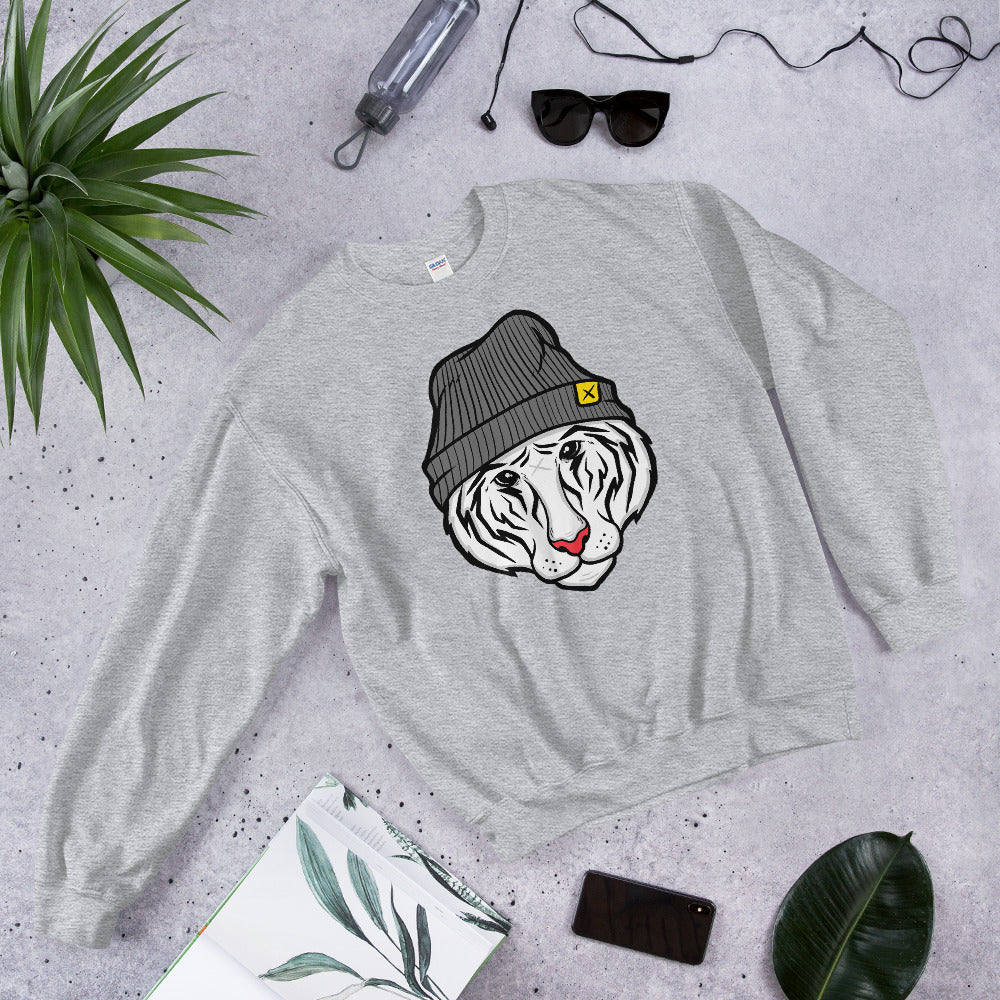 Sweatshirt White Tiger Wearing Beanie