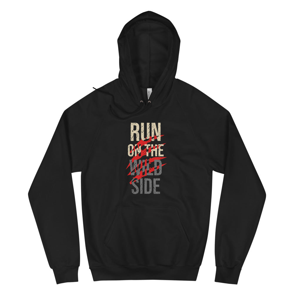 "Fleece Raglan Hoodie ""Run On The Wild Side"""