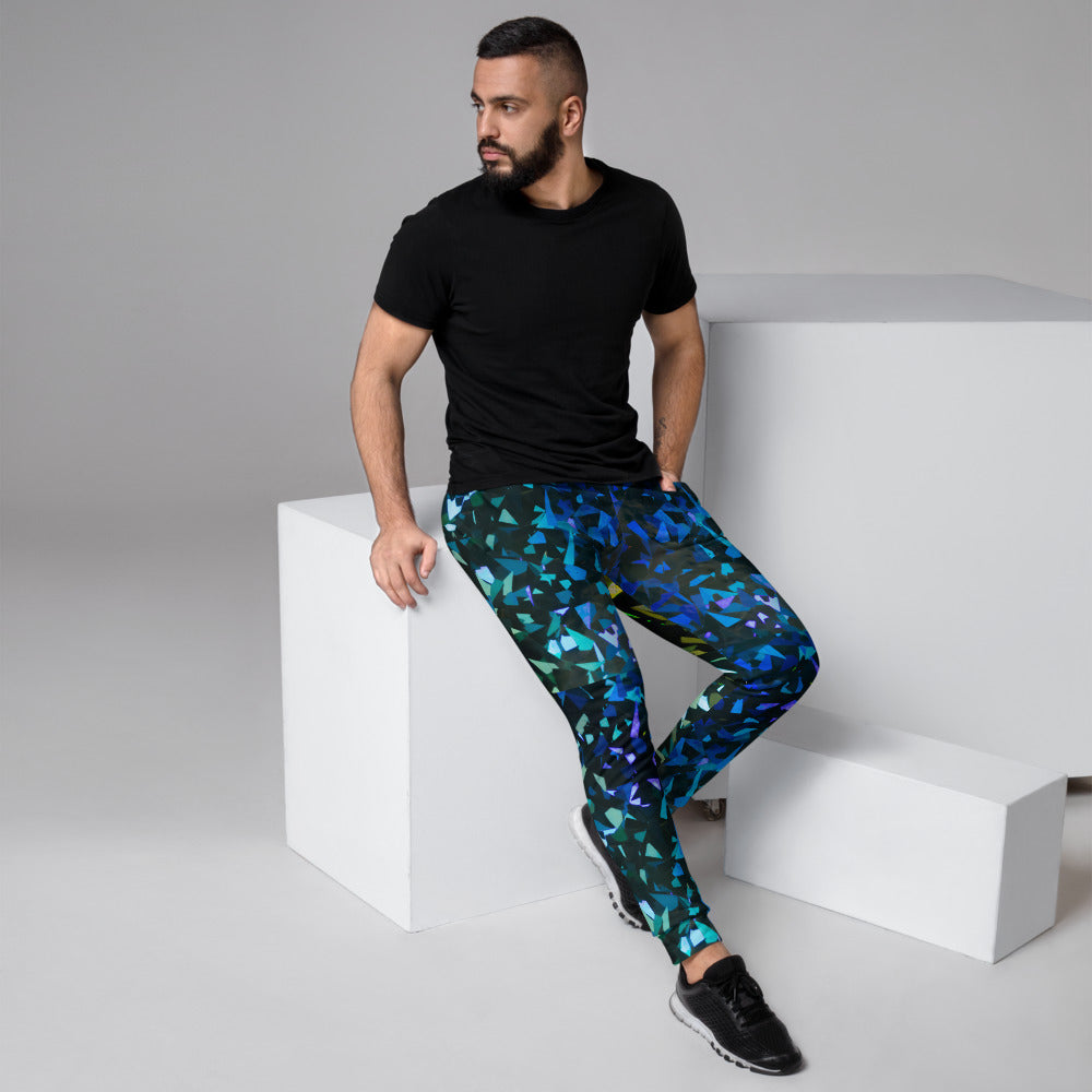 Men's Joggers Dark Green/Blue Abstract