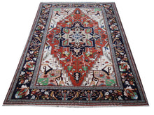 Load image into Gallery viewer, Heriz Serapi vintage rug 7 x 10 ft Brown Black Green Beige