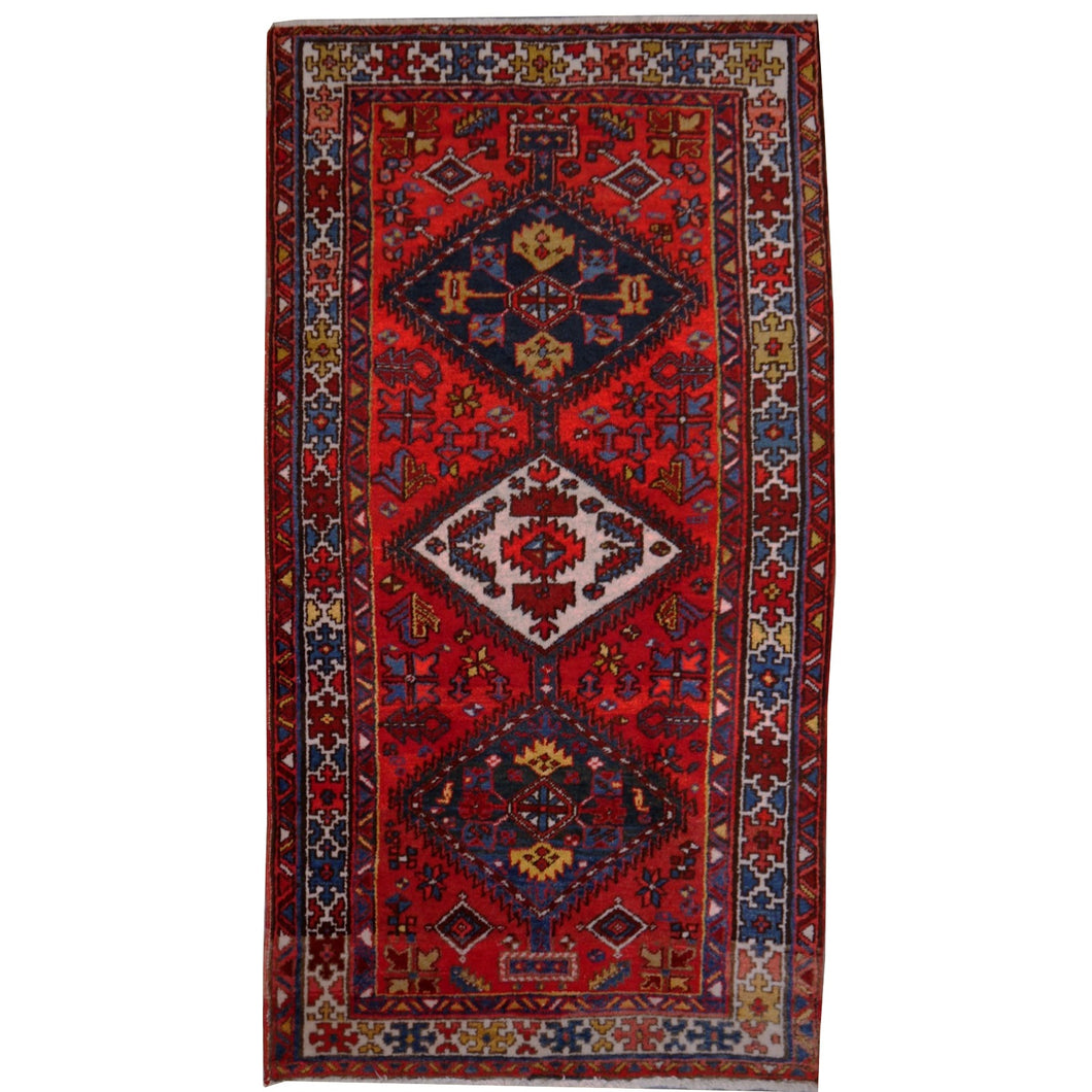 Heriz vintage rug 7 x 4 ft Red Blue Beige
