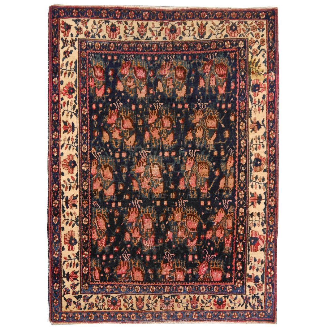 Antique Rug Worn To Perfection 6.0 x 4.6 ft Pink Roses Hand knotted low pile tribal wool rug, hand spun wool and veggie dyes