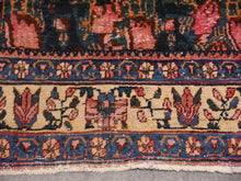 Load image into Gallery viewer, Antique Rug Worn To Perfection 6.0 x 4.6 ft Pink Roses Hand knotted low pile tribal wool rug, hand spun wool and veggie dyes