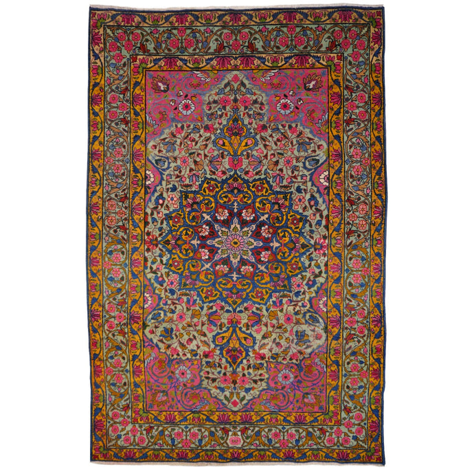 Kerman Antique Rug Worn To Perfection 6.5 x 4.3 ft Green Pink Gold Blue