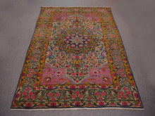 Load image into Gallery viewer, Kerman Antique Rug Worn To Perfection 6.5 x 4.3 ft Green Pink Gold Blue