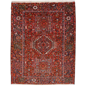 Karaja Heriz antique rug 6.4 x 4.8 ft