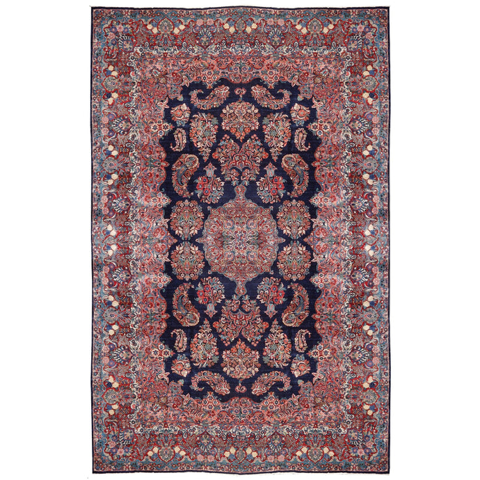 Sarouk Mohajeran antique rug 17 x 12 ft / 510 x 365 cm Blue Rose Beige Turquoise