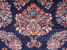 Load image into Gallery viewer, Sarouk Mohajeran antique rug 17 x 12 ft / 510 x 365 cm Blue Rose Beige Turquoise