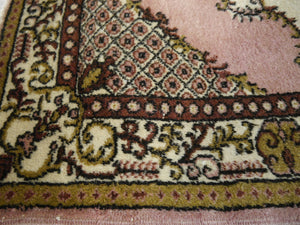 Oushak Vintage Turkish rug 7 x 4 ft Beige, Pink. Brown, Olive