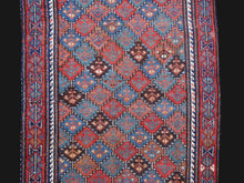 Load image into Gallery viewer, Gendje Antique rug 7 x 3 ft Red Blue Beige Brown