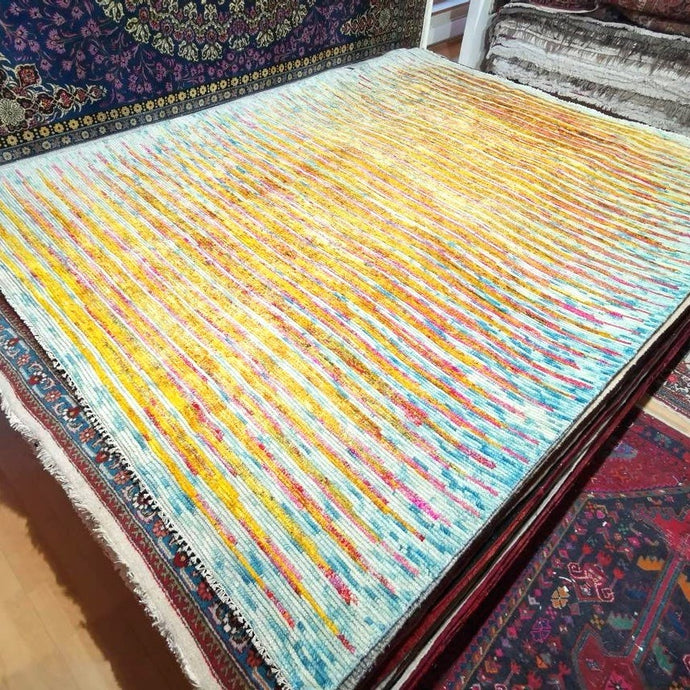 Heriz Durva Vintage Style Sari Silk Rug 8 x 10 ft room size area carpet
