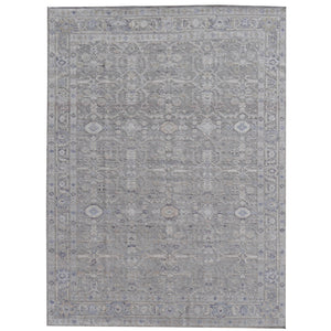 Heriz Vintage Style Rug Grey 14 x 10 ft Design: Traditional Karaja Heriz Design Size: 14 x 10 ft - 420 x 305 cm room size Condition: Perfect  Materials: Wool / Bamboo Silk