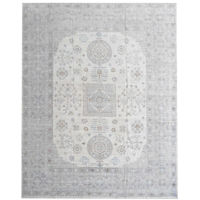 15535 Khotan Samarkand Arijana carpet 15 x 12 ft hand-knotted wool white gray blue oversize palace rug
