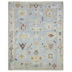 Ziegler Oushak Rug 8 x 10 ft Vintage Look Light Blue Beige