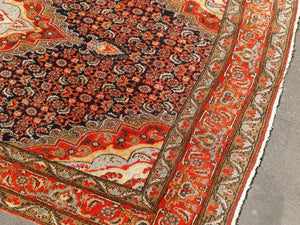 Bidjar rug vintage 8.4 x 5 ft Blue Orange