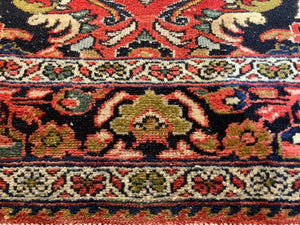 Mehraban vintage rug 7 x 5 ft Red Black worn to perfection