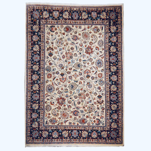 Ziegler Room Size Rug 11 x 8 ft Vintage Persian Floral Carpet Beige Black Blue