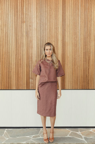 Waddi Short Sleeve Top in Ochre