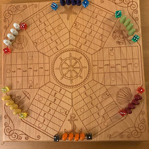 6 Player Beach Theme Pachisi Board
