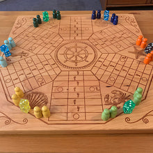 Load image into Gallery viewer, 6 Player Beach Theme Pachisi Board