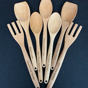 Custom Engraved Wooden  Spoon, Fork, or Flat Spoon