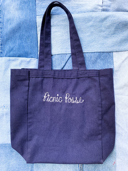 Embroidered Linen Picnic Tote - My Best Vintage Life Podcast