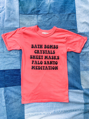Coral Self-Care Sunday Tee Shirt - My Best Vintage Life Podcast